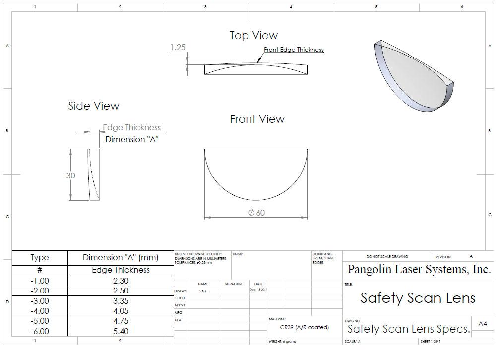 Technische Zeichnung für Pangolin Safety Linse