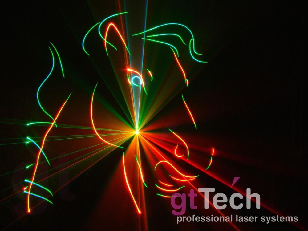 Laserdesigner Pangolin QuickShow Lasershowsoftware projiziert auf Lasergaze
