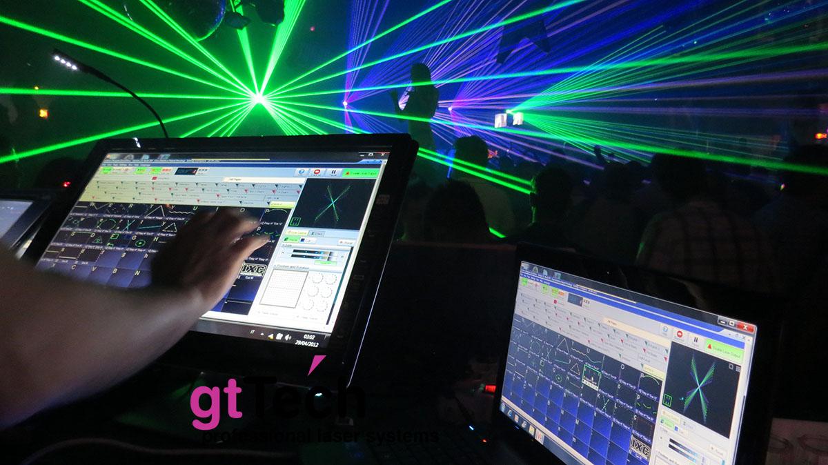 Laserdesigner Pangolin QuickShow Lasershowsoftware in Gebrauch