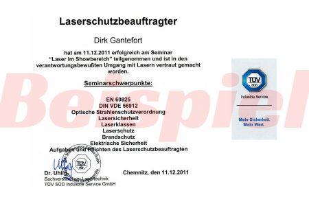 Laserschutz Zertifikat TÜV Sued